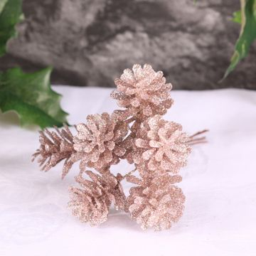 Rose Gold Glitter Cone Bunch of 6 (3cm)