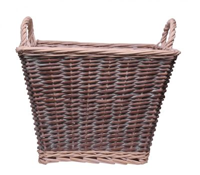 White Wash Square Basket With Ears 45cm