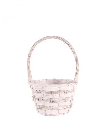 Pickwell White Round Basket 18cm