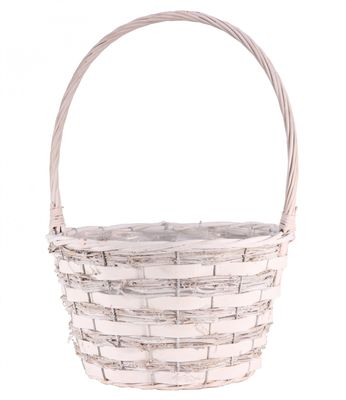 Pickwell White Round Basket With Handle 28cm