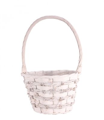 Pickwell White Round Basket With Handle 23cm
