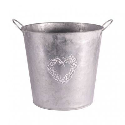Zinc Round Mistletoe Heart Pot 22cm