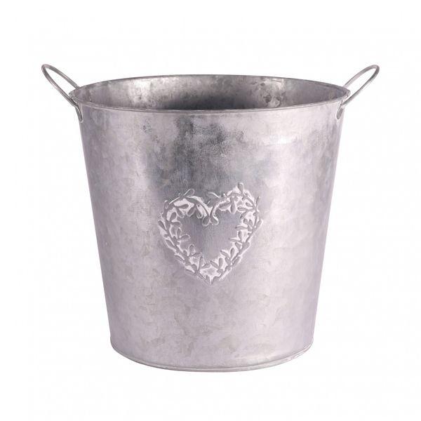 Zinc Round Mistletoe Heart Pot 22cm