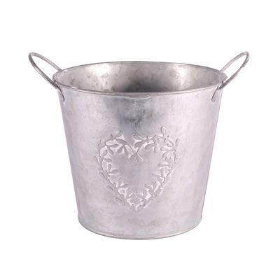 Zinc Round Mistletoe Heart Pot 16cm
