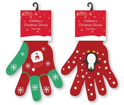Xmas Kids Santa Gloves