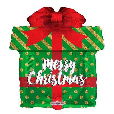 Green Christmas Gift Balloon