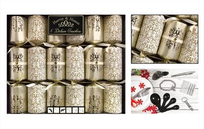 6 Deluxe Gold & Cream Damask Glitter