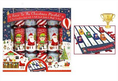 6 Santa Racing Crackers - Pull Back