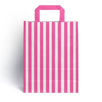 Hot Pink Candy Stripe Paper Carrier Bags (25 pk)