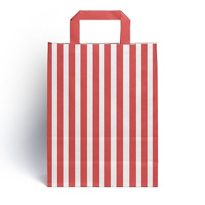 Red Candy Stripe Paper Carrier Bags (25 pk)