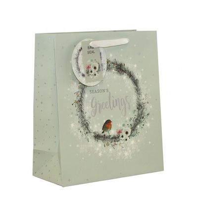 Wreath & Robin Gift Bag (Large)