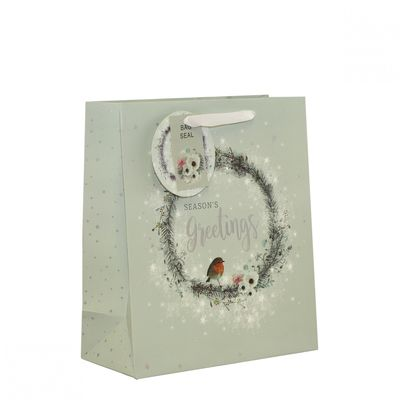 Wreath & Robin Gift Bag (Medium)