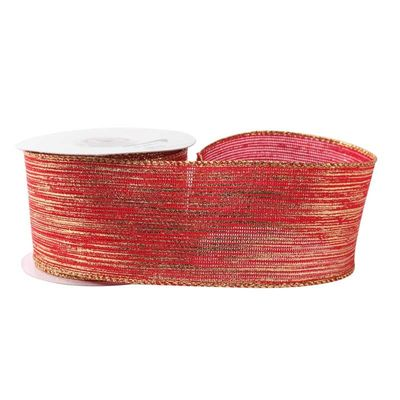 Red with Gold Thread Ribbon (63mm x 10yds)