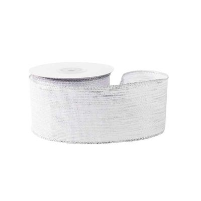 White with Silver Threads Ribbon (63mm x 10yds)