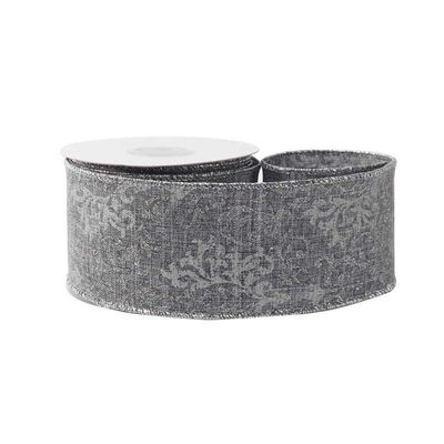 Grey with Silver Pattern Ribbon (63mm x 10yds)