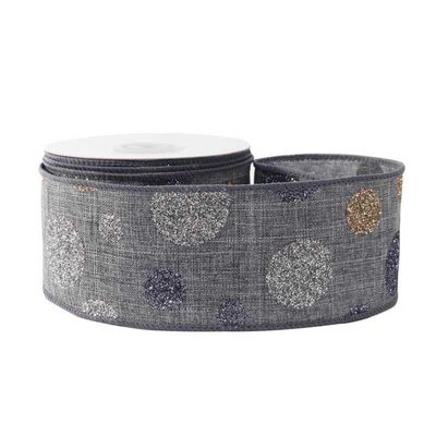 Grey with Dots Ribbon (63mm x 10yds)