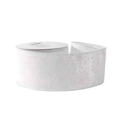 White with White Glitter Snowflakes Ribbon (63mm x 10yds)