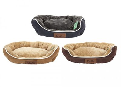 Crufts Med Faux Suede Round Bolster Pet Bed W/Hangtag 3Ass