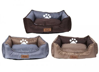 Crufts Small Oxford Nylon Rect Bolster Pet Bed W/Hangtag 3Ass
