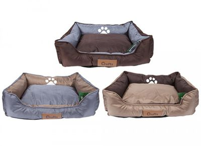 Crufts Med Oxford Nylon Rect Bolster Pet Bed W/Hangtag 3Ass