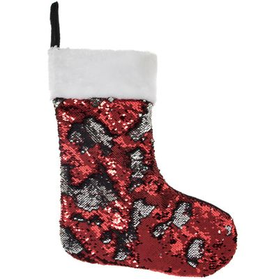 Sequin Stocking red silver