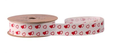 White with Red & White Hearts Ribbon (20mm x10yds)