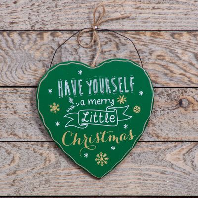 Green Merry Christmas Heart Plaque