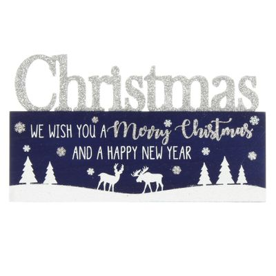 Christmas blue white and silver plaque