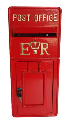 Red ER Metal Post Box (58.5cmx25.5cm)