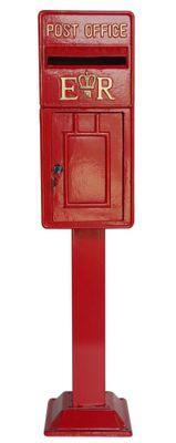 Red ER Metal Post Box on Stand (119cmx26cm)