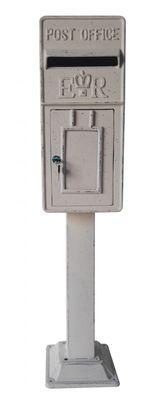Antique Ivory ER Metal Post Box on Stand (119cmx26cm)
