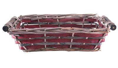 Red Rectangle Unlined Two Tone Tray (37cm)