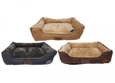 Crufts Small Faux Suede Rect Bolster Pet Bed W/Hangtag 3Ass