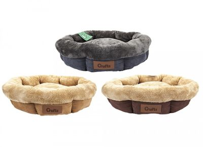 Crufts Medium Faux Suede Ring Pet Bed with Hangtag 3Asstd