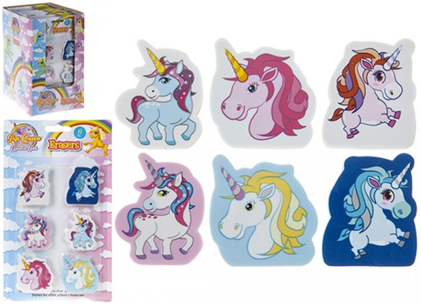 6 Piece 2D Shaped Unicorn Erasers