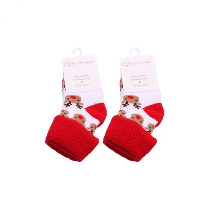 Red and white reindeer socks