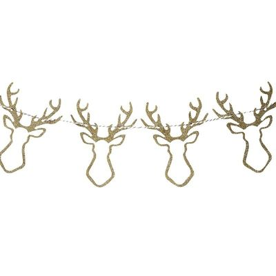 Gold Christmas Gold Glitter Wooden Stag Head Bunting