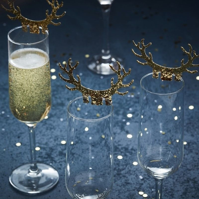 Gold Christmas Glitter Antlers Glass Decoration