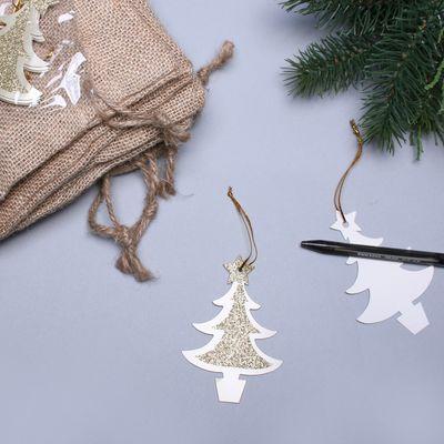 Gold Xmas Tree Glitter Tags W/String (6 pk)