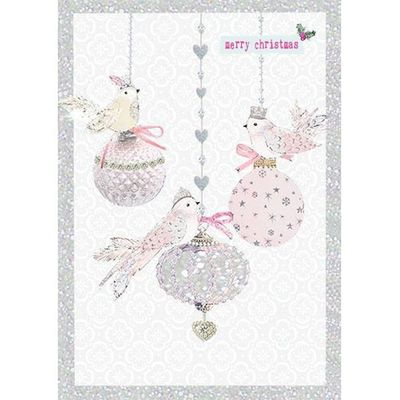 Birds And Baubles Christmas Greeting Card By Carson Higham
