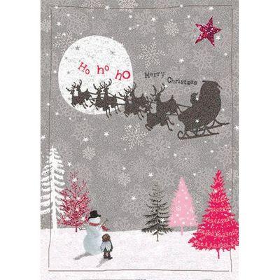 Ho Ho Ho Santa Across Moon Christmas Greeting Card By Carson Higham