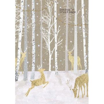 Gold Deers In Forest Christmas Greeting Card By Carson Higham