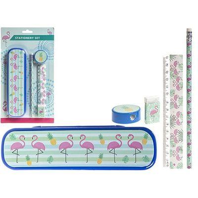 Flamingo Design Stationery Set With Case Pencil Ruler Eraser