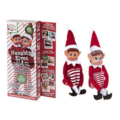 12 Inch 2pack Vinyl Head Elf  In Red Clothes In Box 2 Assorted