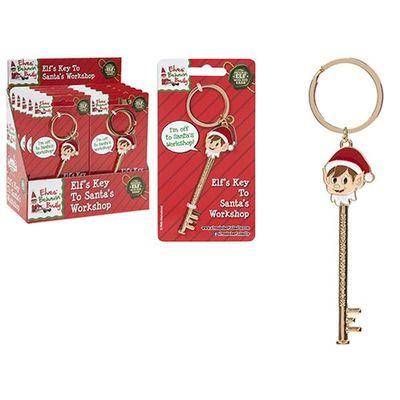 4 X 1 Inch Elf Design Diecast Key  To Santas Workshop On Blst Crd