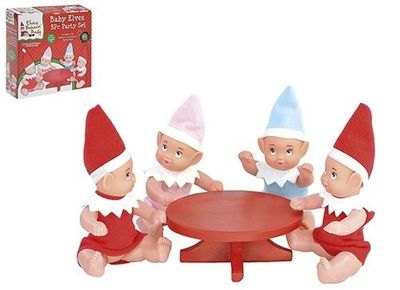 5pc Elf Baby Party Set With 4 Elf Babies+1pc Polystone Table