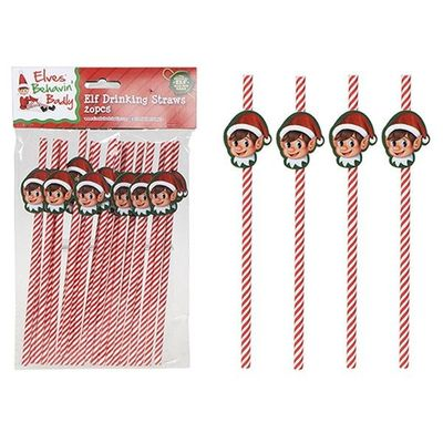 20 Pcs Elf Dsgn Paper Drinking Straws In Pp Bag With Pvc Hdr Crd