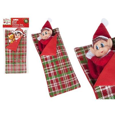 5.5 Inch(w)x12 Inch(l) Patterned Elf   Sleeping Bag With Pillow With H-card