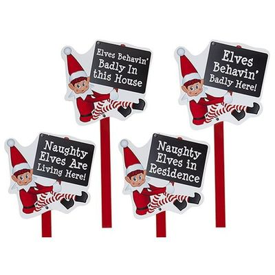 4 Assorted 25 Inch Large Wooden Elf     Garden Sign With Hang Tag