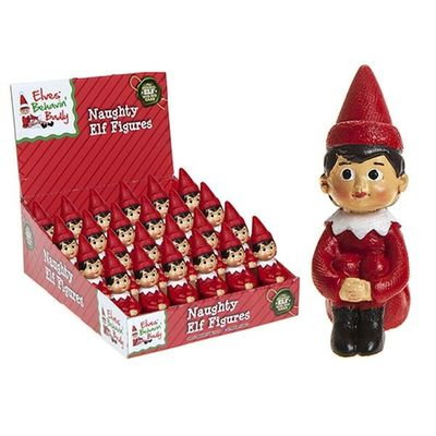 2 Inch Hand Painted Naughty Elf    Poly Figures.pvc Ctd 3ply Dbox